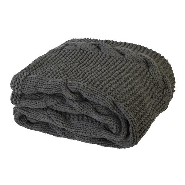 Charcoal colour throw Chunky knit Cable knit detail 100% cotton Dimensions 125 x 150cm