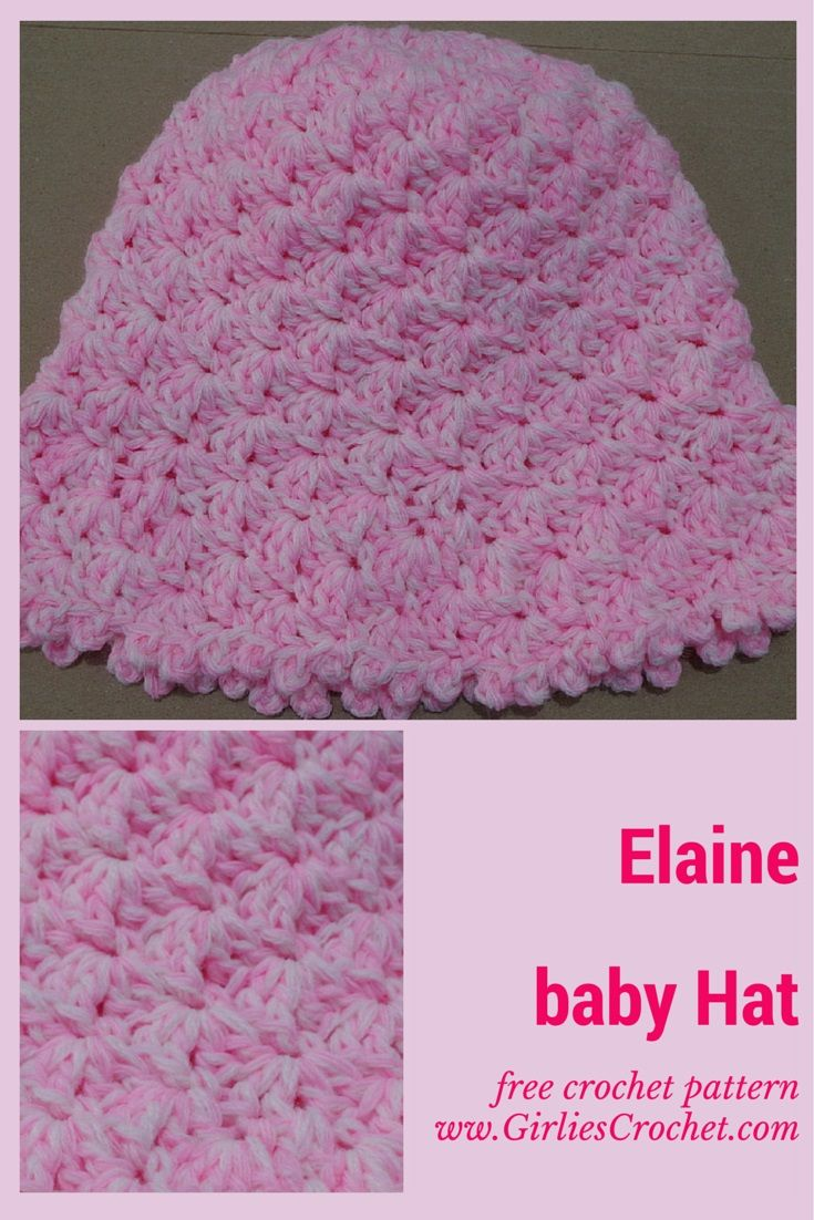 Free Crochet Pattern: Elaine Baby Hat. It has photo tutorial to guide in your crochet journey.
