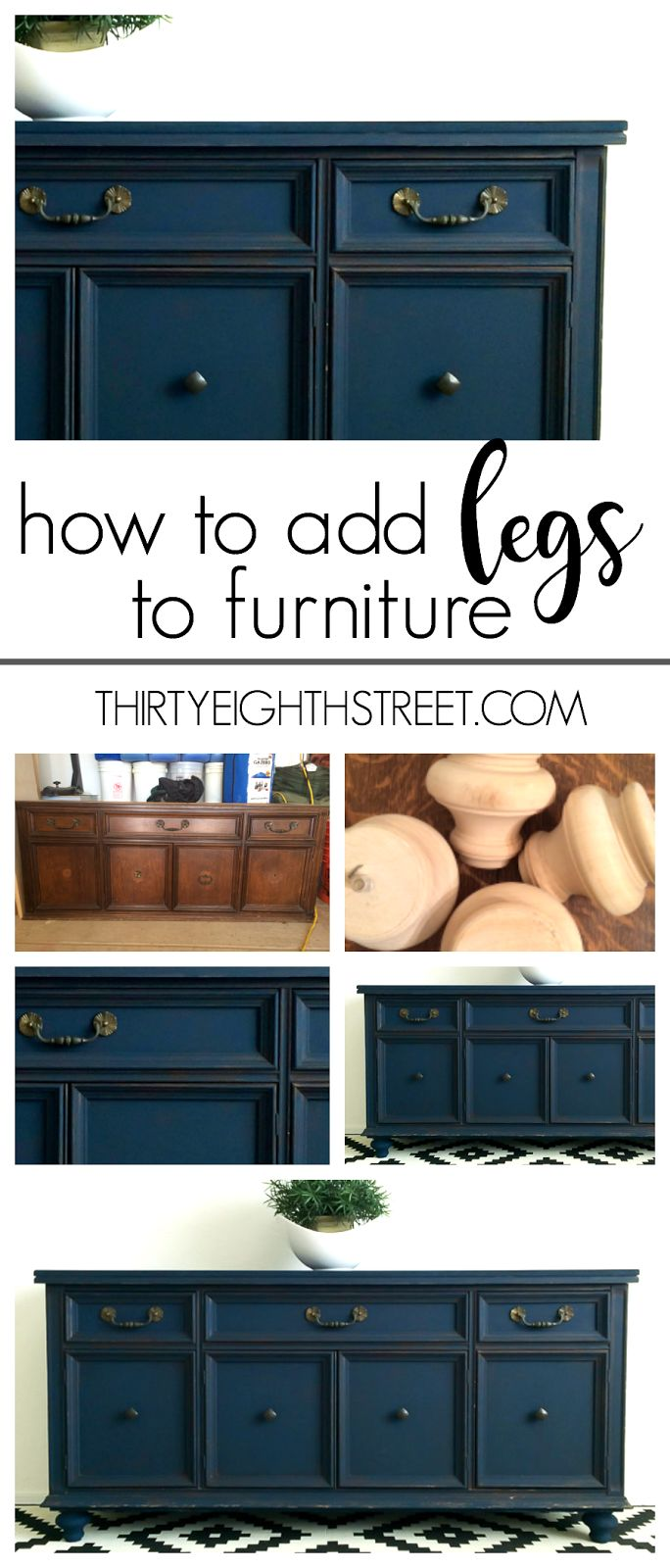 How To Add Legs To Furniture: Create the look of custom furniture by adding feet! A simple tutorial on how to add legs to furniture! | Thirty Eighth Street