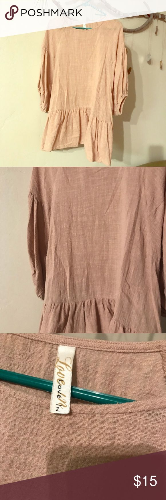 Linen tan baggy shirt So I love this shirt. It looks great with leggings and jeans. Problem is I bought another like it. It is linen. Bought from an online boutique. Tan in color.  Size large. No flaws. Love In Tops Blouses