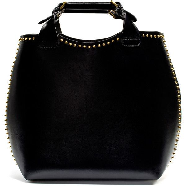 Zara Plaited Shopper With Studs (€185) ❤ liked on Polyvore featuring bags, handbags, tote bags, zara, borse, studded handbags, shopper handbags, woven purses, zara tote and zara tote bag