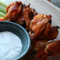 We never deep-fry food in the house. And last night was no exception. Too messy, too many calories, take it from there. But we love Buffalo Wings with a crème fraîche and blue cheese dipping sauce.  This baked recipe offers up a fast, moreish way to make this fun treat. Don't forget the corn on the cob and celery sticks!