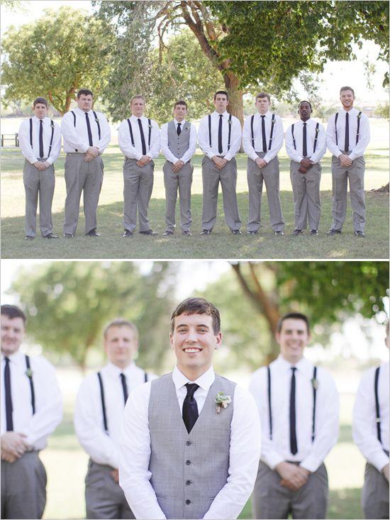 gray and white groomsmen looks http://www.weddingchicks.com/2013/10/21/simple-succulent-wedding/