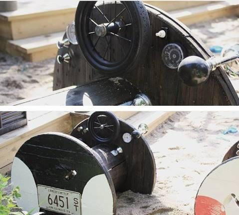 DIY police cars for the kids. Made from old wooden cable drum