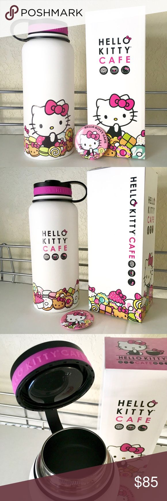 HELLO KITTY CAFE 32OZ BOTTLE + BUTTON Brand new limited edition 32oz thermal water bottle, plus a Hello Kitty Cafe button! Sold only at the Hello Kitty Cafe Trucks. Matte outter finish with a plastic twist off cap. Hard to find collectors item and sooo adorable! Hello Kitty Other
