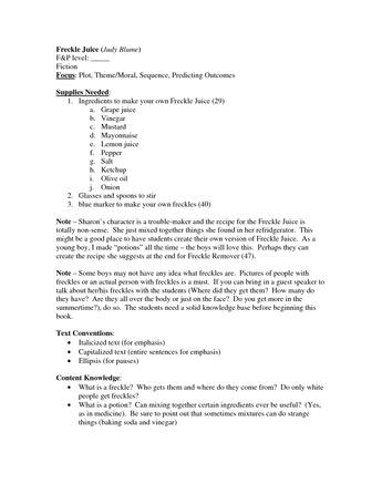 Freckle Juice - Comprehension Packet