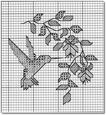 Isn't this little hummingbird cross stitch pattern pretty? It's a free design from Crossed Wing called Anna's Hummingbird. There are lots of colors in this little design, which ma…