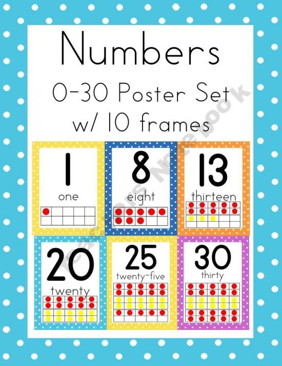 Polka Dot Numbers 0-30 Poster Set with Ten Frames: Polka Dots, Posters Sets, Polka Dot Numbers, Dots Numbers, Number Posters, Numbers 0 30, 0 30 Posters, Learning Numbers, Numbers Posters