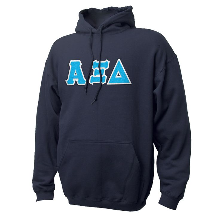 Alpha Xi Delta Navy Hoodie with Sewn On Letters