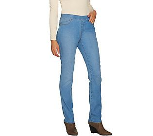 Susan Graver Regular Stretch Denim Straight Leg Pull-On Jeans