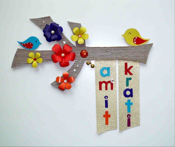 DIY Door Name Plate - paper flowers & cut-outs