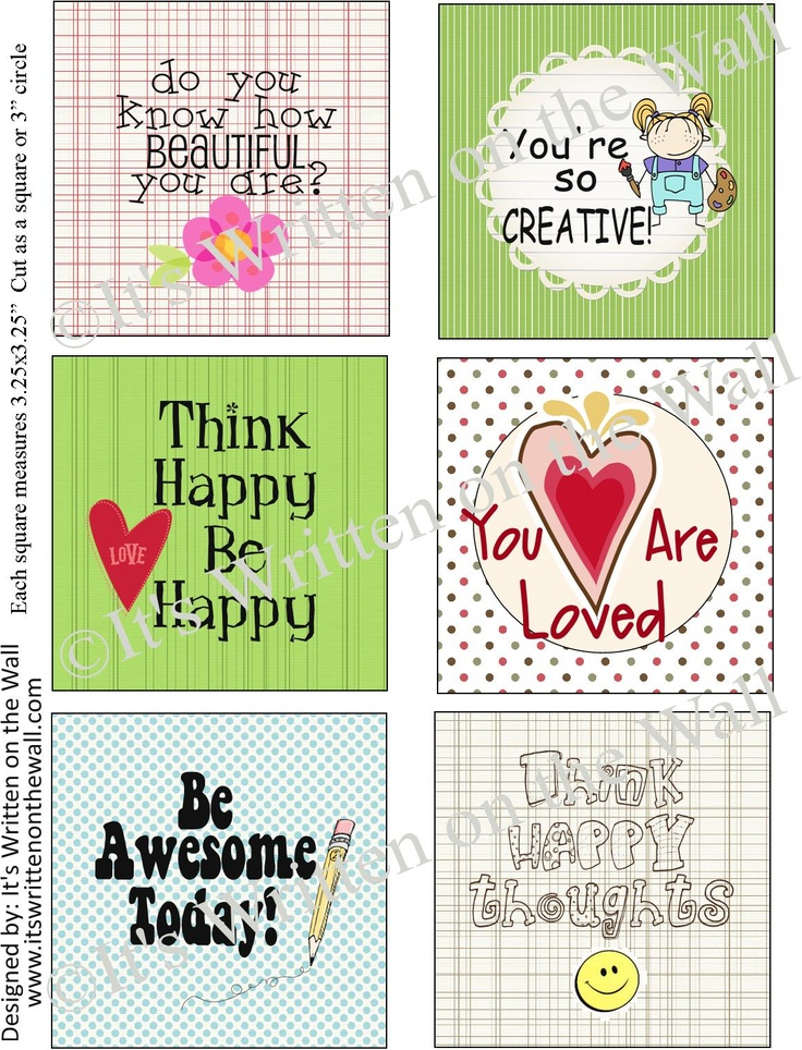 Cute lunch box notes!  I think even my middle-schooler migh tlike some of these!