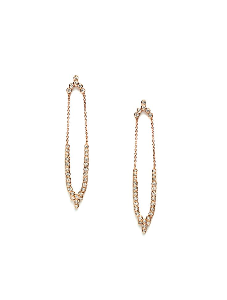 CHARNIERES earrings, rose gold 18K, with brilliant-cut diamonds