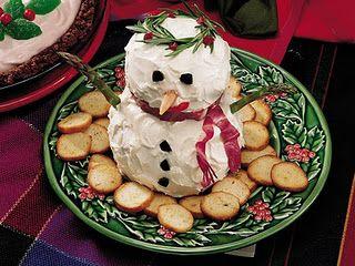 Snowman cheeseball - he's too cute to eat!