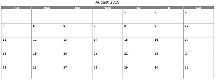 Free August 2019 Printable Calendar Template Calendar 2019 in 2018
