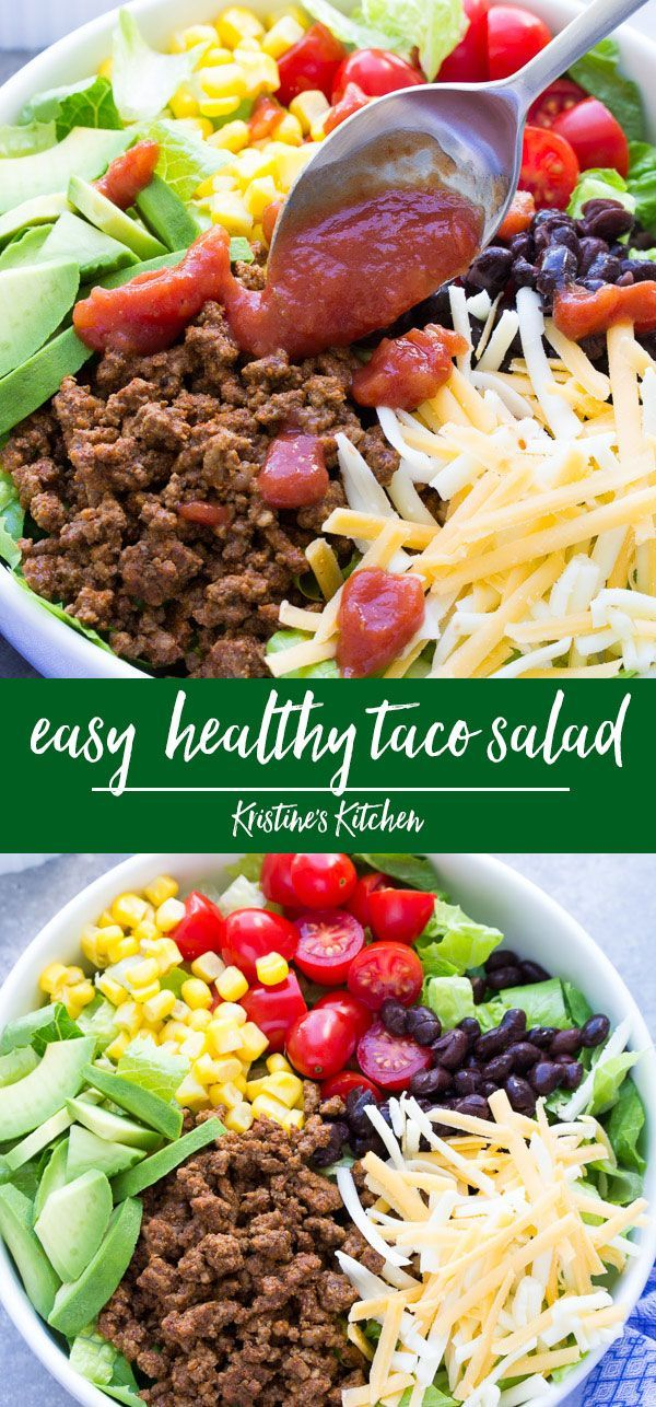 Easy Healthy Taco Salad Recipe Ready In 20 Minutes Make This With Ground Beef Or Turkey O Taco Salad Recipe Healthy Healthy Tacos Salad Recipes Healthy Easy