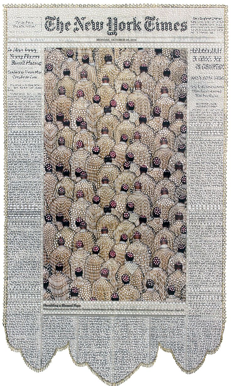Sweeping Lace Patterns Cut into Dense Collages of Newspaper Covers by Myriam Dion #illustration #patterns #collage