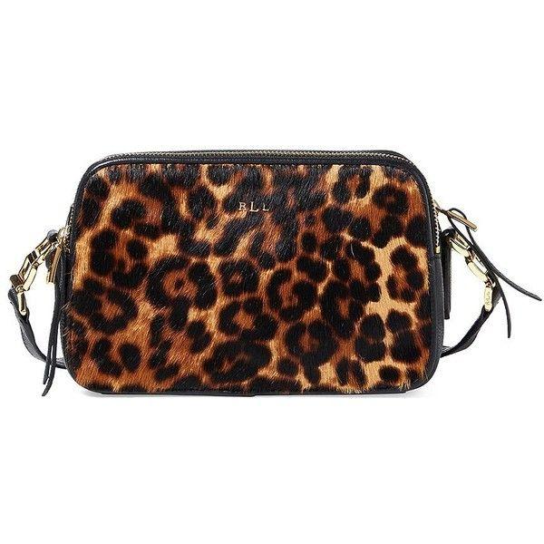 Lauren Ralph Lauren Leopard Hair Calf Leather Crossbody Bag ($248) ❤ liked on Polyvore featuring bags, handbags, shoulder bags, brown, brown purse, brown crossbody, lauren ralph lauren handbags, leopard print crossbody purse and brown crossbody purse