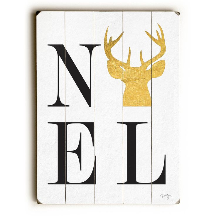 Noel Deer Wood Sign Designed with festive gold and black colors, this Noel Deer Wood Sign will add cheer to your holiday decor. Cleverly designed by Artist Misty Diller, this sign also makes a great g