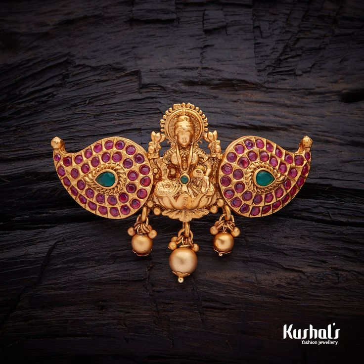 Antique Lakshmi Hair  Brooch Pin studded with Ruby Green synthetic stones & Copper Alloy with gold Polish.