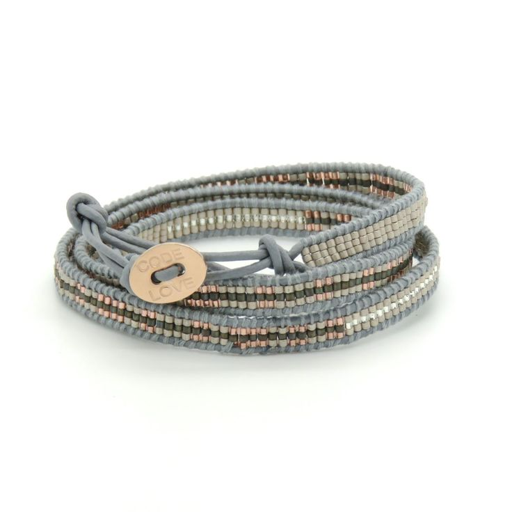 CODE LOVE 'FREEDOM' Morse Code Seed Wrap Bracelet - This bracelet has been hand crafted using the finest quality seed beads bound onto leather and finished with a signature Code Love button. www.codelove.com.au