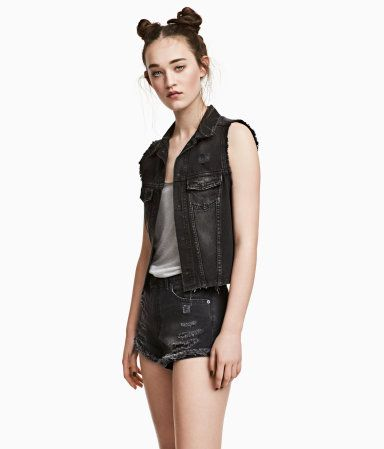 Chaleco vaquero | Negro washed out | Mujer | H&M MX