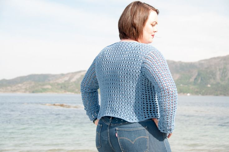 Saltus Sweater Crochet Pattern ★ Crochet pattern for the Saltus Sweater, a short box shaped sweater. ★ Perfect to wear with jeans in your favorite color. ★ XS – XL. ★ Skill level: EASY ★ Language: English / US crochet terms. The Saltus sweater crochet pattern makes a short box shaped jumper. It's designed with cotton yarn, which makes it perfect during the warmer months. You can however choose to make it in warmer yarn to use it all year through. It's made in 6 pieces t