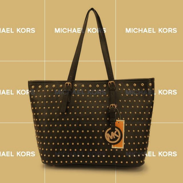 Michael Kors Jet Set Travel Studded Large Black Totes take it away now, it is worth to having.