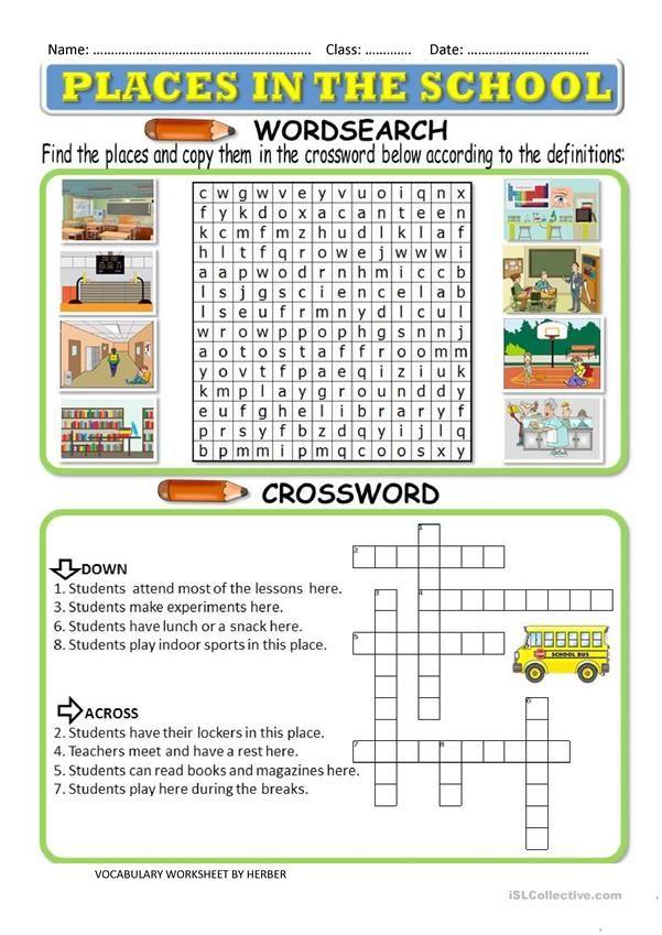 Places In School Worksheet For Kindergarten Pdf