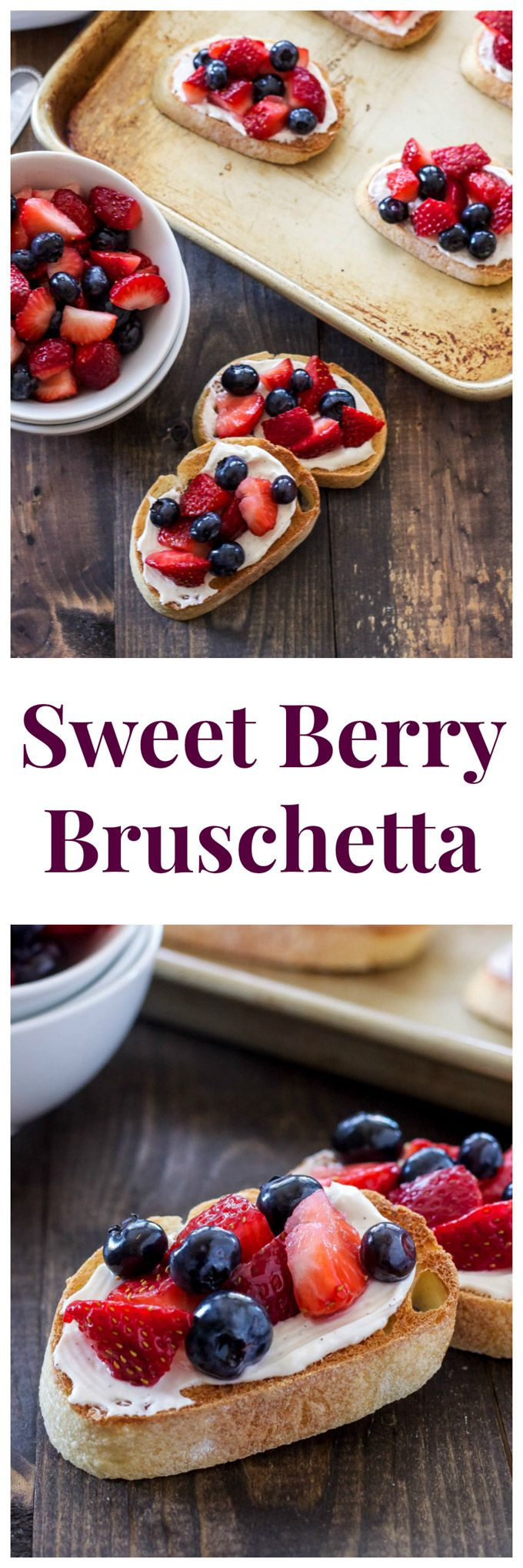 Sweet Berry Bruschetta | This sweet dessert bruschetta topped with berries is easy to make and perfect for spring! | @reciperunner