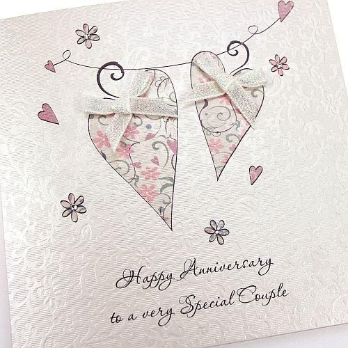 Handmade Anniversary Card Special Couple Hearts Crystals Bow