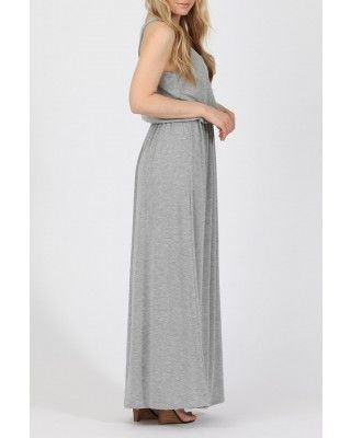 Grey maxi dress in bubble top style and elasticated waist. Made from soft knitted jersey viscose with a stretch. Free UK Delivery on orders over £45.