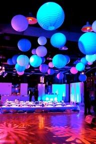Purple lavender blue paper lanterns ceiling decor.  Dance floor decor.