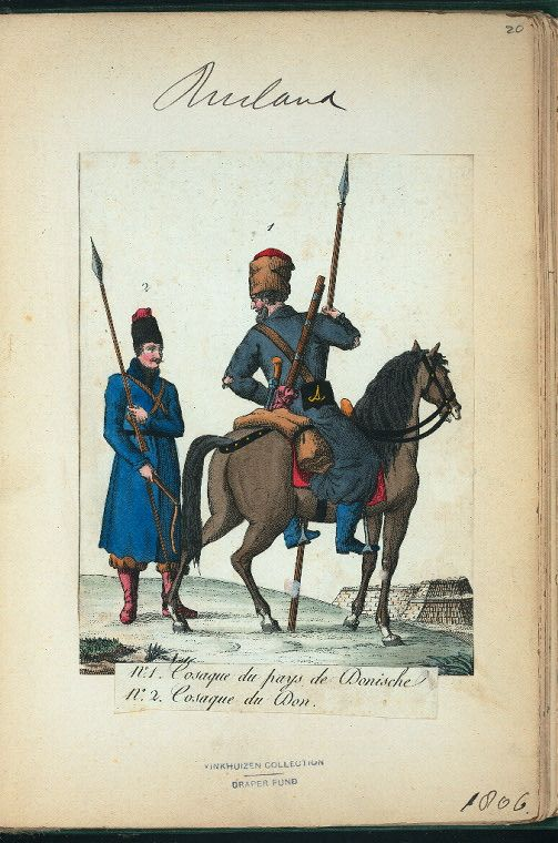Don Cossack and Don Cossack in Casual clothes (NYPL > The Vinkhuijzen collection of military uniforms > Russia. > Russia, 1806 [part 1])