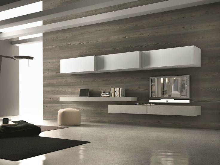 Parete attrezzata componibile fissata a muro con porta tv InclinART - 262 by Presotto Industrie Mobili design Pierangelo Sciuto