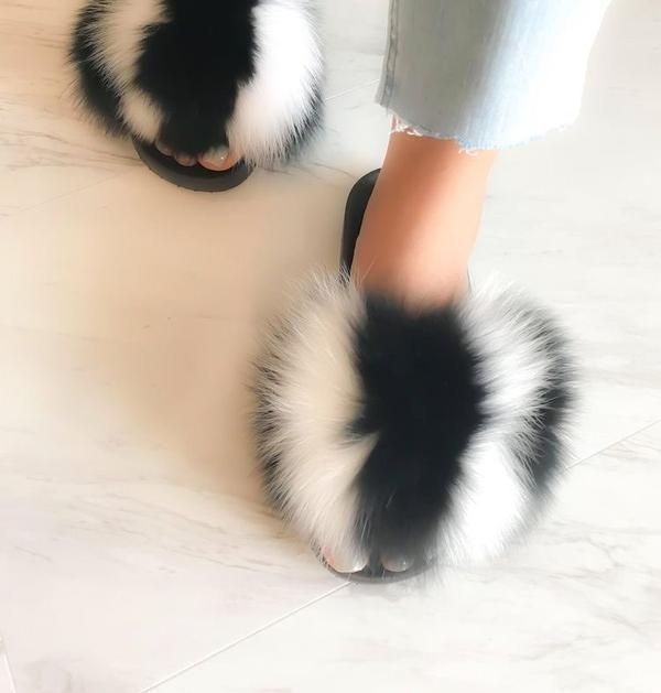 Fox Fur Slippers Women Flip Flops Real Fox hair Slides Female Furry Slipper