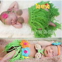 0-6 месяцев вязка крючком новорожденный реквизит для фотосъёмки наряды вязка крючком младенцы комплект младенцы хула девочка головной убор кокосовый орех бюстгальтер трава юбка комплект(China (Mainland))