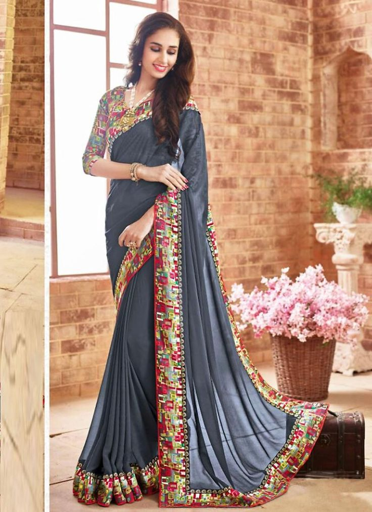 Slate Gray Saree With Nice-looking Plain Pallu