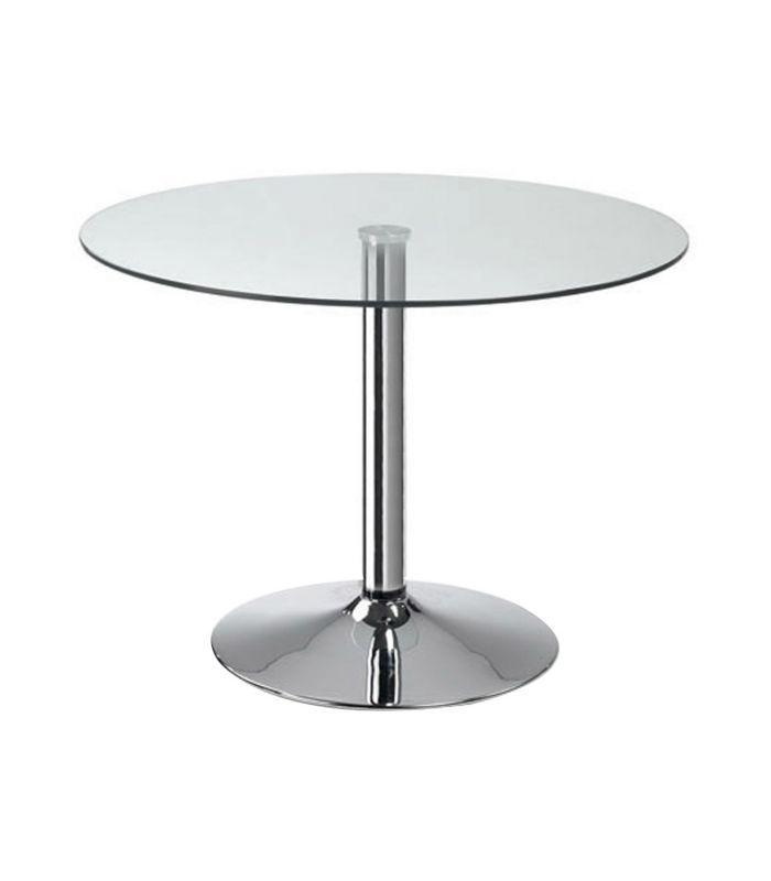 Mesa redonda con pies de acero cromado sobre cristal templado transparente