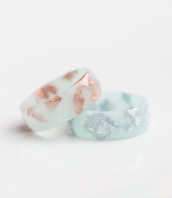 Pastel Mint Resin Ring Men Women Ring Silver Flakes by daimblond