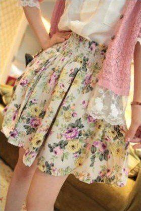 Юбка лето 2 цвета женщин леди ретро цветок короткая расслабленным прорезиненная тесьма на поясе брюки высокая высокой талией s481