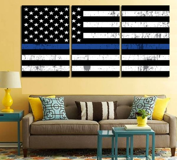 Stunning Custom Printed Artwork Printed On Superior Quality Canvas 100% Satisfaction Guarantee The Thin Blue Line is a symbol used by law enforcement, to show support for the living law enforcement officers and to symbolize the relationship of law enforcement in the community as the protectors of fellow civilians from criminal elements. Blue Line US Flag Size Chart Size 1 30cm x 60cm x3 pieces Size 2 50cm x 70cm x3 pieces 100% Satisfaction Guaranteed With Every Order.