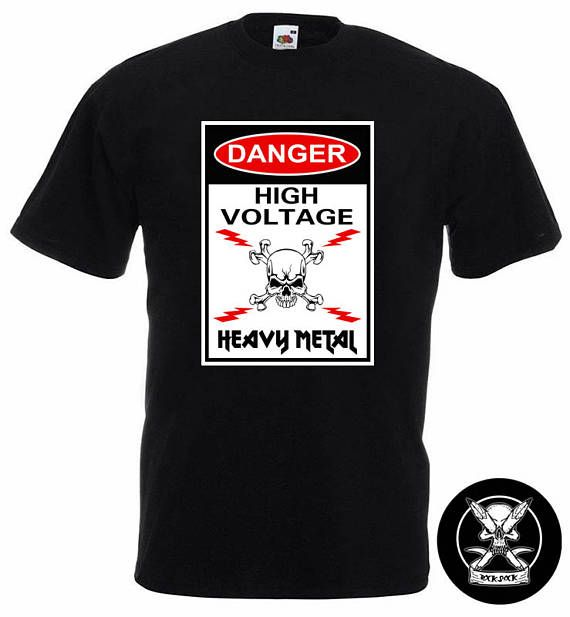 Heavy Metal Funny T-Shirt Check out this item in my Etsy shop https://www.etsy.com/uk/listing/529098325/heavy-metal-t-shirt-danger-high-voltage #heavymetaltshirt #metalhead #metalbandtshirt #heavymetalmusician #heavymetalskull #funnymetaltshirt #heavymetalhumour