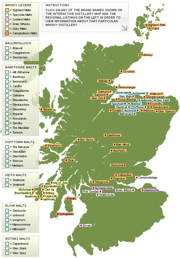 Interactive whisky distillery map of Scotland. Look at all the distilleries in Speyside!
