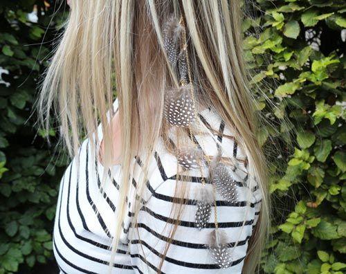 Hårbøjle med perlehøne fjer Til denne hårbøjle er der brugt følgende materialer:  1 stk. hårbøjle, blank forgyldt 1 stk. ende-klemme, 9mm 65 cm. ankerkæde, forgyldt messing 7 stk. fjer, guinea perlehøne 7 stk. endemuffer, forgyldt sterlingsølv 8 stk. øskner, forgyldt sterlingsølv 3,5×0,5mm + lim