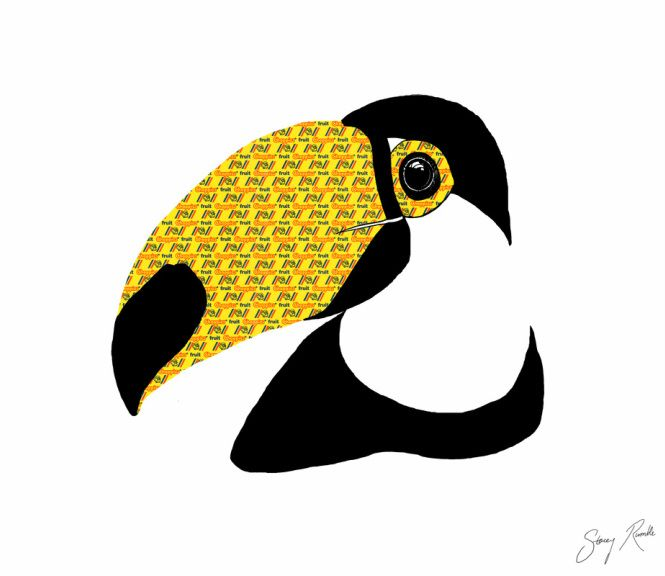 Toucan do anything! Ink drawing with Chappies bubblegum wrapper overlays. Stacey Rumble