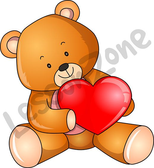 "Valentine's Day is just around the corner!   This illustration, ""Teddy and love heart"" is available in PNG format at 300 DPI resolution with a transparent background for classroom use. This illustration is also available in black and white.   To download, visit lessonzone.com.au"