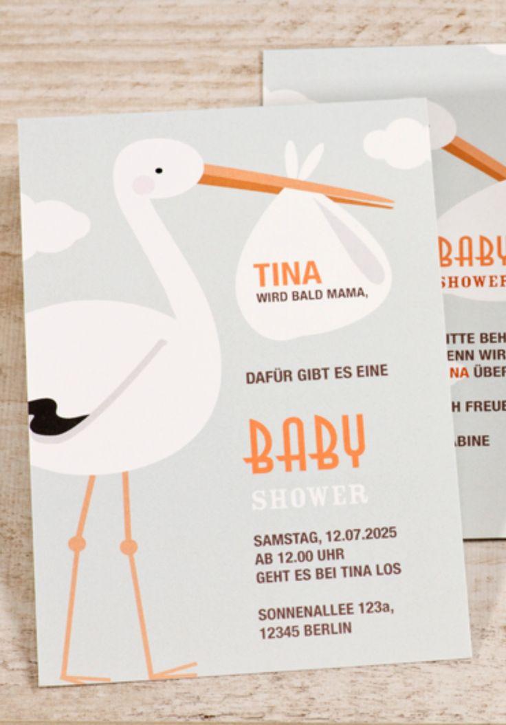 einladungskarte baby shower klapperstorch | babyparty