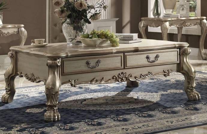 Victorian Bone Velvet Gold Patina Sofa Set 5p Dresden 52090 Acme