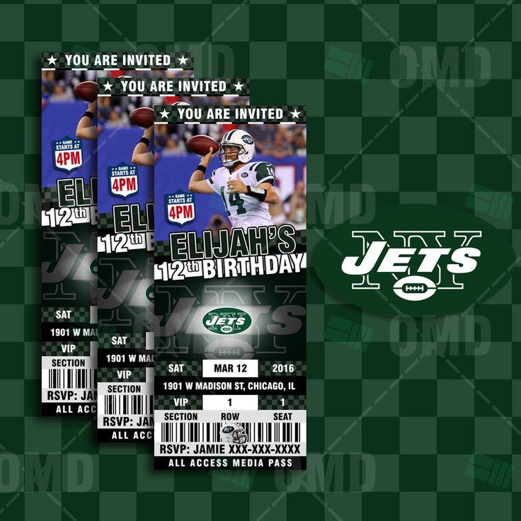 "New York Jets Sports Party Invitation, 2.5x6"" Sports Tickets Invites, Football Birthday Theme Party Template by sportsinvites"